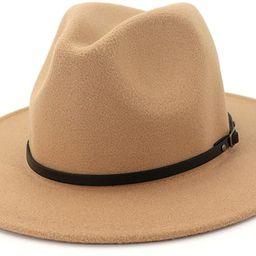Lisianthus Women Wide Brim Wool Fedora Panama Hat with Belt Buckle | Amazon (US)