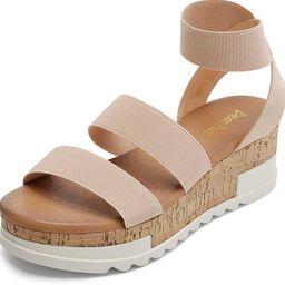 DREAM PAIRS Women's Open Toe Ankle Strap Casual Flatform Platform Sandals | Amazon (US)