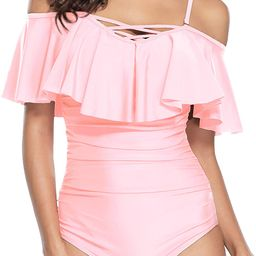 Holipick Off Shoulder One Piece Swimsuits for Women Tummy Control Ruched Bathing Suits Ruffled Fl... | Amazon (US)