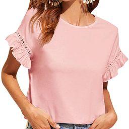 Floerns Women's Casual Summer Ruffle Short Sleeve Tops Blouse T-Shirt | Amazon (US)