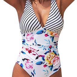 CUPSHE Women's One Piece Swimsuit V Neck Tummy Control Cross Back Vintage Swimwear Bathing Suits   Amazon (US)