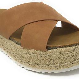 SODA Women's Open Toe Ankle Strap Espadrille Sandal | Amazon (US)
