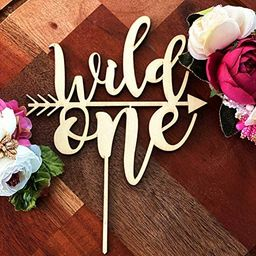 Wild One Cake Topper One Year Old One Cake Topper Rustic Wood Cake Topper First Birthday Cake Top... | Amazon (US)
