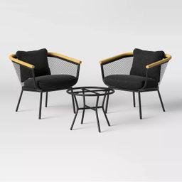 Bangor 3pc Metal Mesh & Faux Wood Patio Chat Set - Project 62™ | Target