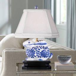 "Blue And White 16""H Porcelain Bunny Accent Table Lamp | LampsPlus.com"