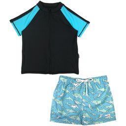 "Boy's Short Sleeve Rash Guard Swimsuit Set & Board Shorts - ""Deep Blue Sharks"" | SwimZip"