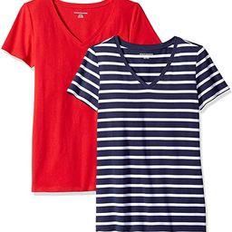 Amazon Essentials Women's 2-Pack Classic-Fit Short-Sleeve V-Neck T-Shirt   Amazon (US)