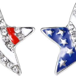 Lux Accessories Red White Blue American Flag Star Crystal Rhinestone Earrings   Amazon (US)