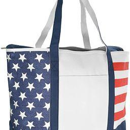 DALIX Striped Boat Bag Premium Cotton Canvas Tote Black, Red, Pink, Navy Blue, Purple (Stars-Stri...   Amazon (US)