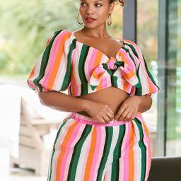 Stripe Linen Shorts   Eloquii