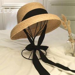New fashion women' Summer sun hat Handmade Raffia cap Visor Ribbon hat Wide side Travel vacation ... | Etsy (CAD)