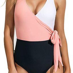 Felnart Swimsuits for Women V Neck Color Block Wrap One Piece Swimsuits Bowknot Swimwear | Amazon (US)