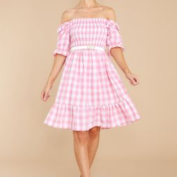 Picnic In Paradise Pink Gingham Dress | Red Dress