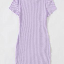 SHEIN Solid Rib-knit Bodycon Dress | SHEIN