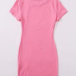 SHEIN Split Hem Solid Dress | SHEIN