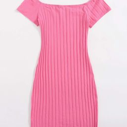 SHEIN V-Neck Rib-knit Bodycon Dress | SHEIN