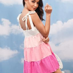 SHEIN Knot Straps Colorblock Ruffle Hem Cami Dress | SHEIN