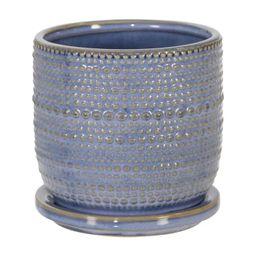 "5"" Ceramic Textured Planter with Saucer Blue - Sagebrook Home | Target"
