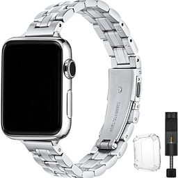 STIROLL Thin Replacement Band Compatible for Apple Watch 38mm 40mm 42mm 44mm, Stainless Steel Met... | Amazon (US)