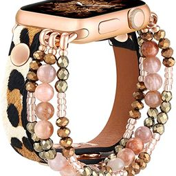 fastgo Leather Leopard Band Compatible with Apple Watch 38mm 40mm Women Girls, Furry Leopard Elas... | Amazon (US)