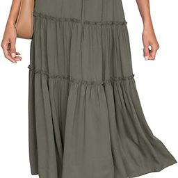 HAEOF Women's Boho Elastic High Waist A Line Ruffle Swing Beach Maxi Skirt with Pockets | Amazon (US)
