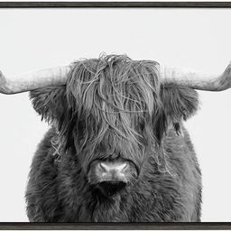 Kate and Laurel Sylvie Highland Cow Framed Canvas Wall Art by Amy Peterson, 23x33 Gray, Rustic Wa...   Amazon (US)