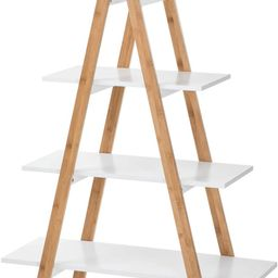 House of Living Art White Ladder Shelf - 4 Tier Bamboo and MDF Shelving, A-Shaped   Amazon (US)