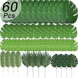 60 Pcs 6 Kinds Artificial Palm Leaves Tropical Plant Safari Leaves Faux Monstera Leaves Stems for... | Amazon (US)