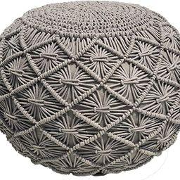 Casa Platino Pouf Ottoman Hand Knitted Cable Style Dori Pouf - Macramé Pouf - Cotton Braid Cord ...   Amazon (US)
