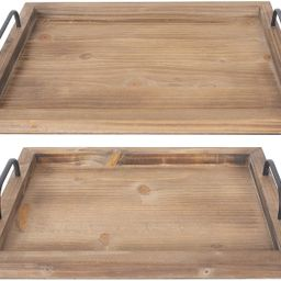 Besti Rustic Vintage Food Serving Trays (Set of 2) | Nesting Wooden Board with Metal Handles | St... | Amazon (US)