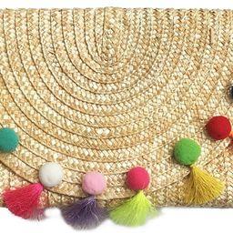 Straw Pom Pom and Tassel Clutch - Colorful Summer Bag   Amazon (US)