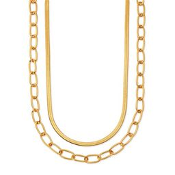 """Scoop 14KT Gold Flash Plated Brass Layered Herringbone and Link Chain Necklace, 15"""" + 3"""" Extender   Walmart (US)"""
