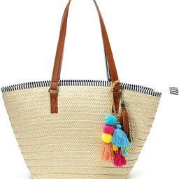 Epsion Straw Beach Bags Tote Tassels Bag Hobo Summer Handwoven Shoulder Bags Purse With Pom Poms | Amazon (US)