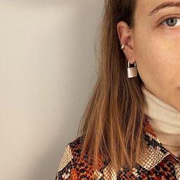 Silver padlock hoop earrings, womens smooth lock pendant earrings, modern padlock stud earrings, ... | Etsy (US)