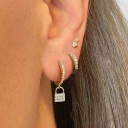 Lock Hoop Earrings • charm hoops • huggie earrings • hoop earrings • delicate earrings ... | Etsy (US)