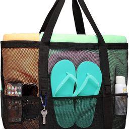 Beach Bag, F-color Mesh Beach Bag Oversized Beach Tote 9 Pockets Beach Toy Bag | Amazon (US)