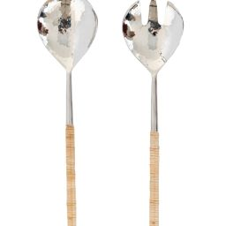 Hammered Metal & Rattan Serving Set | McGee & Co.