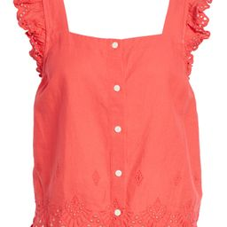 Eyelet Ruffle Strap Button-Up Tank Top   Nordstrom