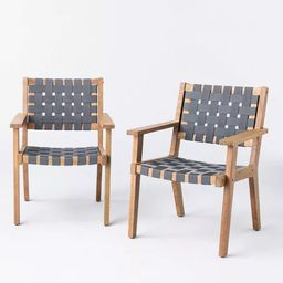 2pk Wood & Strapping Patio Club Chairs - Threshold™ designed with Studio McGee   Target