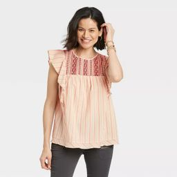 Women's Flutter Short Sleeve Embroidered Top - Knox Rose™ | Target