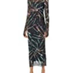 AFRM Women's Shailene Turtle Neck Long Sleeve Mesh Bodycon Midi Dress, Earthy Spiral Tie Dye, X-Smal   Amazon (US)