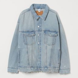 Oversized jacket in washed cotton denim. Collar, buttons at front, and yoke at back. Dropped shou... | H&M (US)