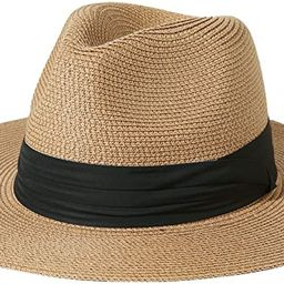 Lanzom Men Women Wide Brim Straw Foldable Roll up Hat Fedora Summer Beach Sun Hat UPF50+ | Amazon (US)