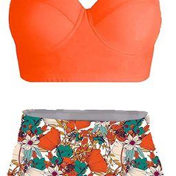 AMOURRI Womens Vintage Polka Underwire High Waisted Swimsuit Bathing Suits Bikini | Amazon (US)