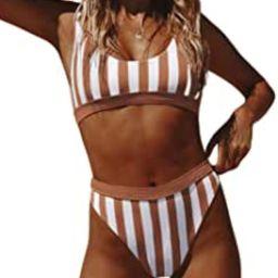 Aleumdr Women's Crop Top Striped Printed High Waisted Cheeky Bikini Set Two Piece Swimsuits | Amazon (US)
