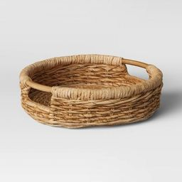 """16"""" x 4.5"""" Round Tray with Ear Handle Natural - Threshold™   Target"""