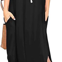 GRECERELLE Women's Summer Casual Loose Dress Beach Cover Up Long Cami Maxi Dresses with Pocket | Amazon (US)