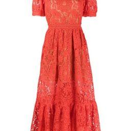 floral lace midi dress | Farfetch (US)