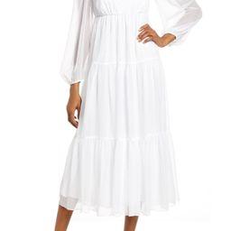 Long Sleeve Chiffon Midi Dress | Nordstrom