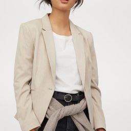Fitted blazer in woven fabric with notched lapels, welt front pockets, and decorative buttons at ...   H&M (US)